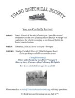 You are Cordially Invited! WHAT: Toano Historical Society is hosting an Open House and celebration of the new Commercial Historic District. We hope you can join us for a festive evening as excitement builds for Toano's revitalization. WHEN: Saturday, July 27, 2019 6:00 pm--8:00 pm WHERE: Martin-Farinholt Store @ 7882 Richmond Road. Extra parking available across the street Complimentary Wine selections by Gauthier Vineyard; Heavy hors d'oeuvres by Culinary Delights; Beer & non-alcoholic beverages also available